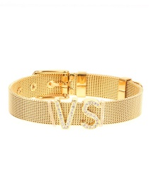 Fashion Gold Stainless Steel Plated Gold Mesh Strap With Letter Zircon Bracelet
