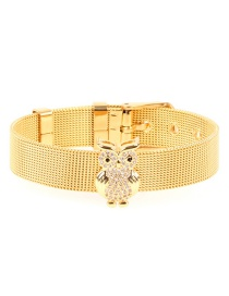 Fashion Gold Stainless Steel Gold-coloured Mesh Strap With Owl Micro-inlaid Zircon Bracelet