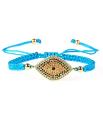 Fashion Blue Fully Drilled Eye Zircon Weave Adjustment Bracelet