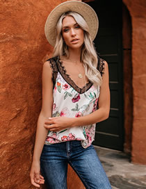 Fashion Beige Printed Lace Stitching V-neck Sling