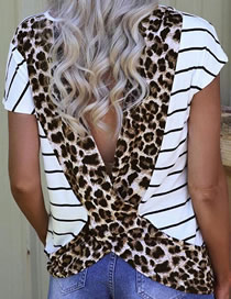 Fashion Leopard Striped Leopard-printed Halter T-shirt