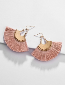 Fashion Pink Alloy Fan-shaped Line Ear Fringe Stitch Earrings