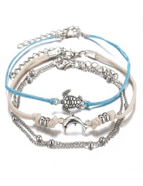 Fashion White Turtle Dolphin Knitting And Pushing Anklet 3 Piece Set