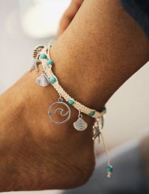 Fashion Silver Starfish Wave Pattern Shell Shell Inlaid Turquoise Anklet