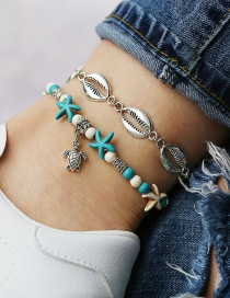 Fashion Silver Metal Shell Turtle Turtle Starfish Anklet Two-piece