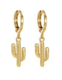 Fashion Gold Copper Cactus Earrings