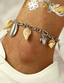 Fashion Silver Conch Metal Shell Turtle Anklet