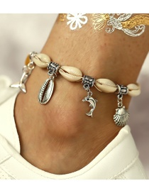 Fashion Silver Dolphin Fishtail Shell Anklet