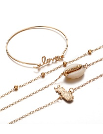 Fashion Gold Pineapple Shell Love Bracelet 4 Pack