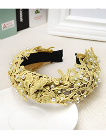 Fashion Yellow Lace Embroidered Openwork Fabric Wide-brimmed Pearl Headband