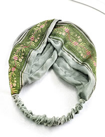 Fashion Mint Green Embroidered Wide-brimmed Print Headband
