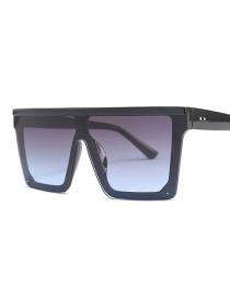 Fashion Black Frame On Gray Under Blue Square Big Box Sunglasses