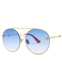 Fashion Gradient Blue Double Beam Round Sunglasses