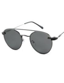 Fashion Gun Frame Black Gray Piece Outer Ring Polarized Inner Ring Flat Mirror