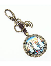 Fashion Bronze Metal Basketball Keychain