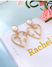 Fashion Gold S925 Silver Needle Pearl Love Kiss Hollow Cartoon Earrings
