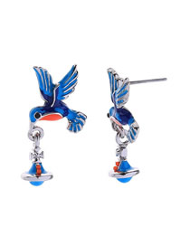 Fashion Silver S925 Silver Needle Dripping Hummingbird Earrings