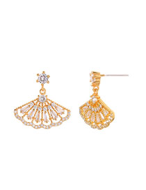 Fashion Gold S925 Silver Pin Multi-layer Fan Earrings