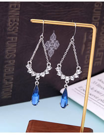 Fashion Silver Crystal Sapphire Earrings