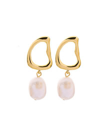 Fashion Gold (cultured Pearl) 925 Silver Needle Freshwater Pearl Stud Earrings