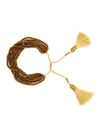Fashion Fringed Gold Millet Beads Weave Religious Totem Eye Bracelet