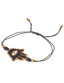 Fashion Palm Black Rice Beads Woven Eye Bracelet