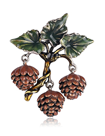 Fashion Red Alloy Drip Pine Cone Brooch