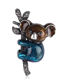 Fashion Blue Alloy Drip Koala Brooch