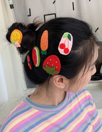 Fashion Strawberry Alloy Fabric Cartoon Hair Clip