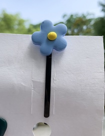 Fashion Blue Flower Soft Pottery Hairpin