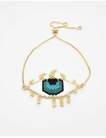Fashion Gold Rice Beads Woven Eyelash Eye Bracelet