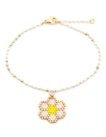 Fashion Gold Braided Small Flower Stainless Steel Bead Bracelet