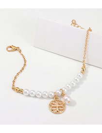Fashion Gold Alloy Symbol Pendant Pearl Bracelet