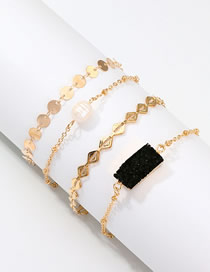 Fashion Silver Alloy Resin Natural Pearl Bracelet Set