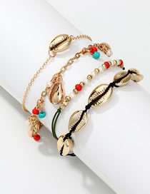 Fashion Color Alloy Shell Rice Bead Bracelet Set