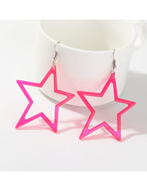 Fashion Rose Red C-shaped Star Fluorescent Earrings