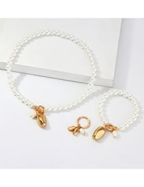 Fashion Gold Alloy Pearl Necklace Set
