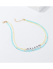 Fashion Gold + Blue Letter M Beads Woven N Necklace Set