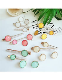 Fashion Five-color Combination Alloy Pearl Opal Hair Clips Earring Set