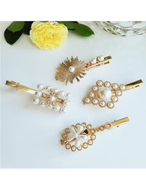 Fashion Combination Geometric Pearl Hairpin