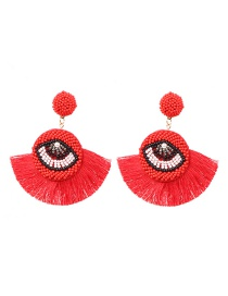 Fashion Red Tasseled Beads Eye Studs