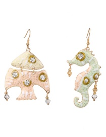 Fashion Pink + Green Asymmetrical Fish Seahorse Earrings