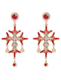 Fashion Red Cross Flower Earrings