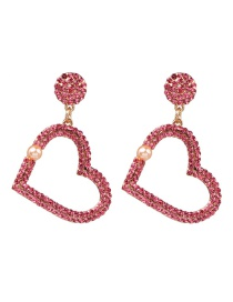 Fashion Pink Love-shaped Diamond Earrings