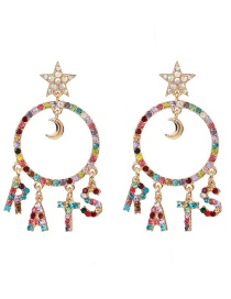 Fashion Color Geometric Circle Letter Tassel Earrings