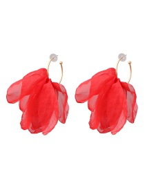 Fashion Red Silver Needle Chiffon Yarn Earrings