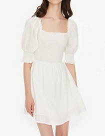 Fashion White Puff Sleeve Dress