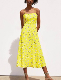 Fashion Yellow Printed Strap Dress