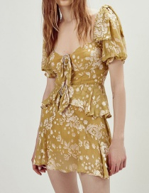 Fashion Yellow Printed Short-sleeved Dress