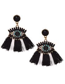 Fashion Black Alloy Studded Eye Tassel Earrings
